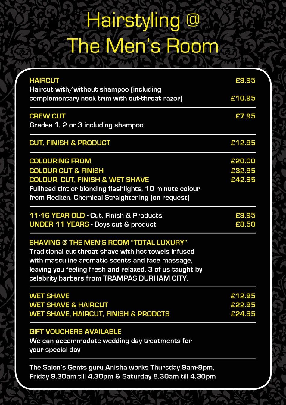 Mens Prices At The Salon Langley Park Durham Hair Salon