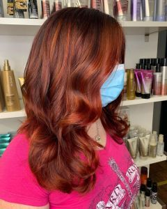 Vibrant red Balayage Hair Colour At The Salon, Langley Park in Durham